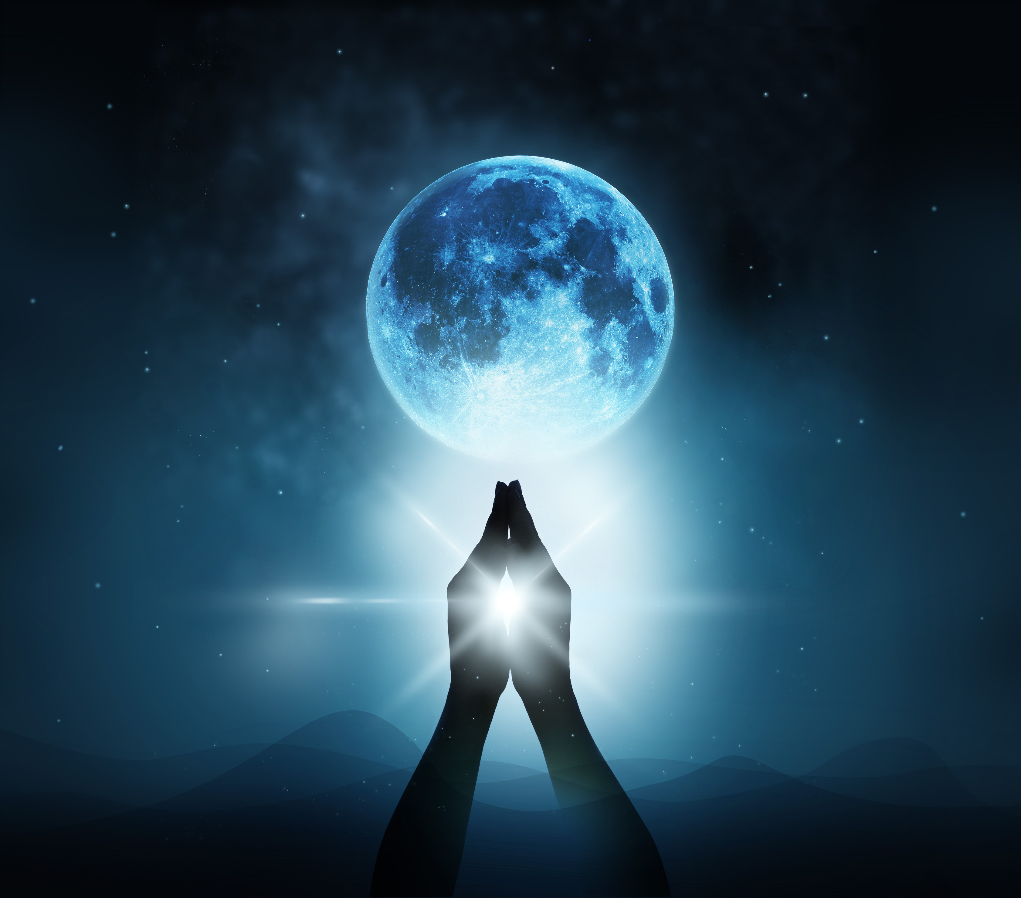 Respect and pray on blue full moon with nature background